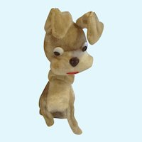 Tramp Puppy Dog Nodder Toy Bobblehead Vintage Glass Eyes Animal With Bow