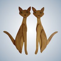 Retro Wood Atomic Kitty Cat Wall Decor Hangings Mid- Century Art