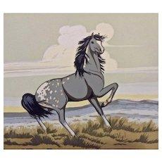 Frank Vigil (1922-1974) Gray Mustang Horse Original Tewa Serigraph Print Works on Paper
