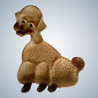 Vintage Brown Poodle Dog Plate California USA Pottery Ceramic Collectible Wall Hanging Tray Dish