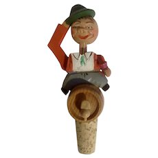Wood Carved Bottle Stopper Man Tipping Hat Beer Cork Vintage