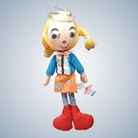 1963 Holiday Fair Raggedy Jill #D2/10 Doll Stuffed Plush Made in Japan