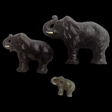 Vintage Putz Lineol Elastolin Germany Black Elephant Family Trunk Up Composition Figurines 1920's-1940's