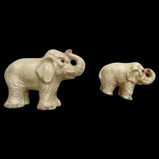 Vintage Putz Lineol Elastolin Germany White Elephant Set Trunk Up Composition Figurines 1920's-1940's