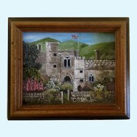 D Staub, British Castle Garden Small Acrylic Painting