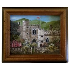 D Staub, British Castle Garden Small Acrylic Painting on Canvas panel Signed by Artist