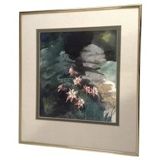 Mariah Robertson Watercolor Painting Aquilegia Columbine Wildflowers Works on Paper Signed by Artist
