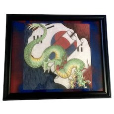 Vintage South Korean Dragon Flag Batik Painting