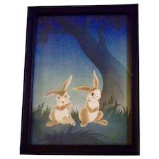 Vintage Bunny Rabbit Print of Bunnies in Love 1950's GOES Company