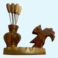 Vintage Carved Wood Black Forest Squirrel Small Hors D'oeuvres Appetizer Utensil Holder