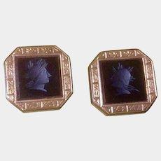 Roman Soldiers  Cuff Buttons Cufflinks Black Onyx Pat Dec, 1980's