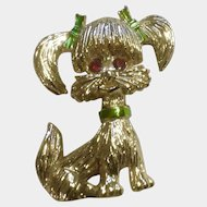 Vintage Signed Gerrys Gold Tone Poodle Pin with Red Rhinestone Eyes Costume Jewelry