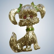 Gerrys Poodle Pin Gold Tone Red Rhinestone Eyes Costume Jewelry