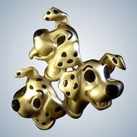 Disney 101 Dalmatians Pin Brooch Gold-tone 3 Dog Jewelry