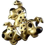 Vintage Disney 101 Dalmatians Gold Tone Pin 3 Dog Jewelry Brooch