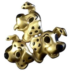Vintage 101 Dalmatians Pin Brooch Disney Gold Tone 3 Dog Jewelry