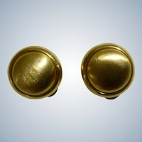 Vintage LCI Liz Claiborne Earrings Clips Gold Tone Buttons