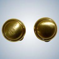 Vintage LCI Liz Claiborne Earrings Clips Gold Tone Buttons