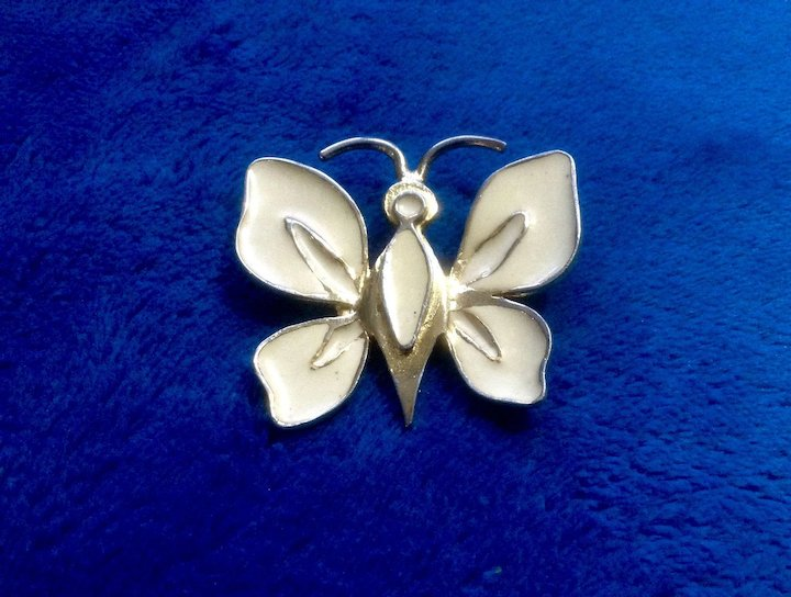 65bb24be3a8 YSL Yves Saint Laurent Jewelry Brooch Pin Butterfly or Moth Gold Tone and  Cream Enamel 1970's