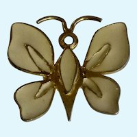 YSL Yves Saint Laurent Brooch Butterfly or Moth Cream Enamel 1970's