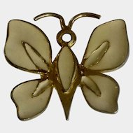 YSL Yves Saint Laurent Jewelry Brooch Pin Butterfly or Moth Gold Tone and Cream Enamel 1970's