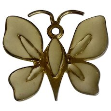 93a8ab830e9 YSL Yves Saint Laurent Jewelry Brooch Pin Butterfly or Moth Gold Tone and  Cream Enamel 1970's