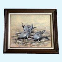 Bob Haynes, Quail Covey Birds, Realistic Oil Painting Signed