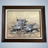 Bob Haynes, Quail Covey Birds, Realistic Oil Painting on Board, Signed by Listed Colorado Wildlife Artist