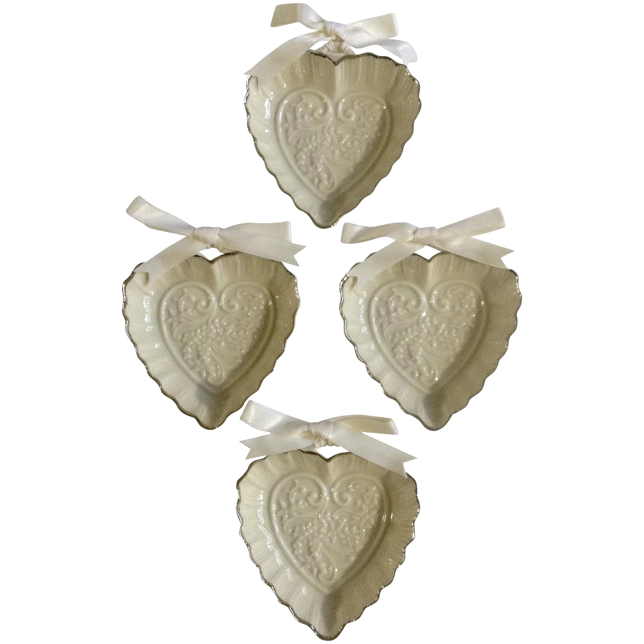Lenox Wedding Promises Collection 4 Heart Favors, 3-1/4 inches Fine ...