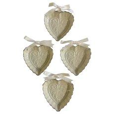 Lenox Wedding Promises Collection 4 Heart Favors, 3-1/4 inches Fine Porcelain 1992
