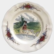 Discontinued Obernai by Sarreguemines Girl With Geese Salad Plate 8 1/4 in