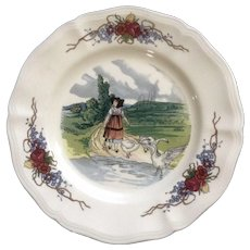 Obernai by Sarreguemines Geese & Girl Salad Plate 8 1/4 in Discontinued