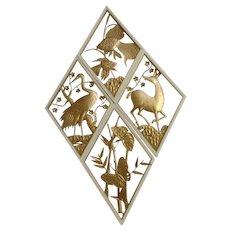 Mid-Century Animal Wall Art Gold Tone Metal  Wall Decor Atomic Set of 4