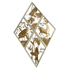 Retro Gold Tone Metal Animal Art Wall Decor Atomic Set of 4