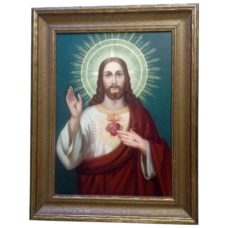 Jesus Christ Of The Sacred Heart 20th Century Oil Painting On Canvas