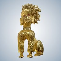 Poodle Dog Puppy Pin Brooch R. Mandle Rhinestones Gold Tone with Chains for Hair