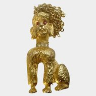 R. Mandle Rhinestone Gold Tone Poodle Dog Puppy with Chains for Hair Pin Brooch