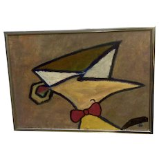 A Zapd, Oil Painting of a Futuristic Cartoon Character 1964 Signed by Artist
