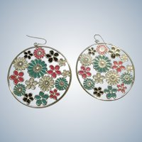 Fancy Vintage Hook Earrings With Enamel Floral Motif Silver Tone, Blue, White, Black and Florescent Pink Costume Jewelry