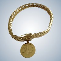 Vintage Binder Bros. Gold Filled Bracelet 1/20 - 12 K BB With DWC Charm 7-1/4 Inches Long