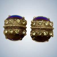 Vintage Florenza Clip-On Earrings Rich Purple to Peacock Blue, Yellow Rhinestone Gold Tone