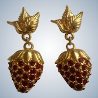 Avon Rhinestone Strawberry Pierced Gold Tone Earrings