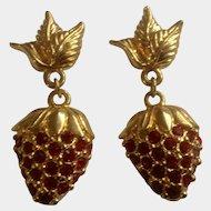 Avon Rhinestone Strawberry Pierced Gold Tone Earrings