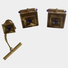 Krementz Cufflinks & Tie Tac Set Blue Square Rhinestone 1950s -1960's Gold Tone Jewelry