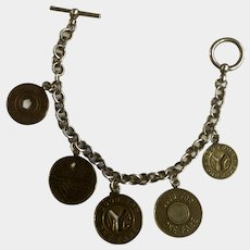 Sterling Silver 925 Chain NY Subway Token Charm Bracelet
