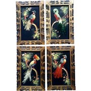 Vintage Mexican Folk Art Feather Bird Picture Painting Hand Carved Wood Frame Set of 4