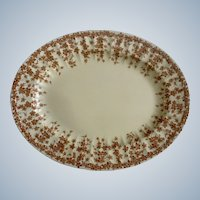 """Crown Ducal Oval Serving Platter 11-1/2"""" Early English Ivy Brown, Smooth, Dinnerware"""