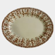 "Crown Ducal Oval Serving Platter 11-1/2"" Early English Ivy Brown, Smooth, Dinnerware"