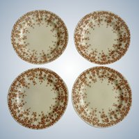 """Crown Ducal 6"""" Bread and Butter Plate Adaption of Early English Ivy, Brown, Smooth, Round  BB Dinnerware Set of 4"""