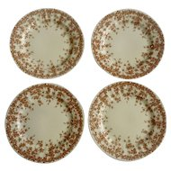 "Crown Ducal Adaption of Early English Ivy, Brown, Smooth, Round 6"" Bread and Butter BB Dinnerware Plate Set of 4"